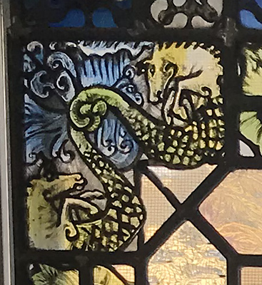 stained glass seahorses