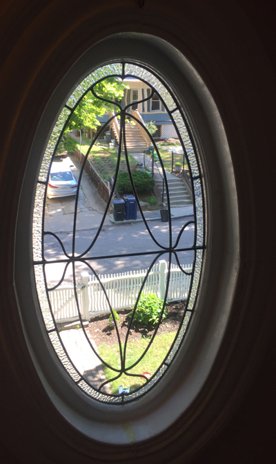 oval leaded glass