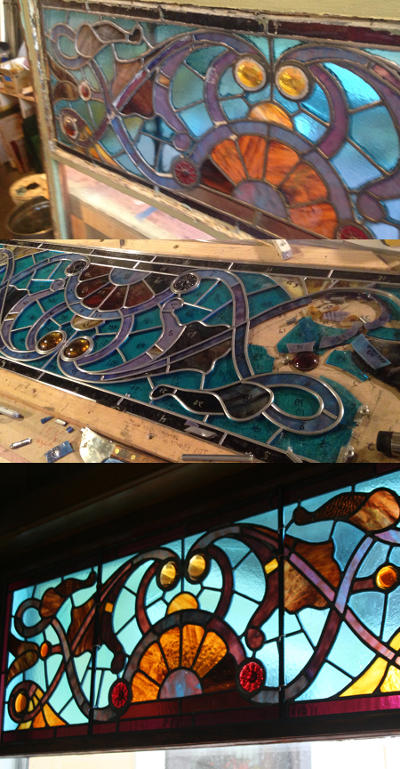 restored stained glass, before during after